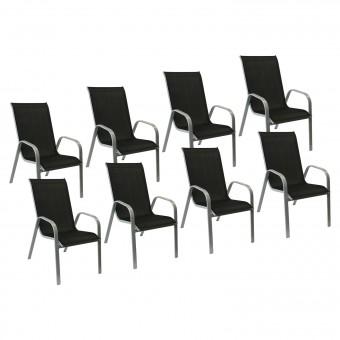 Lot de 8 chaises MARBELLA en textilène noir - aluminium gris