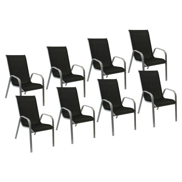 lot de 8 chaises de jardin en textil ne noir aluminium gris. Black Bedroom Furniture Sets. Home Design Ideas