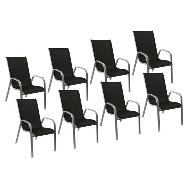 lot de 8 chaises de jardin en textil ne noir aluminium gris. Black Bedroom Furniture Sets. Home Design Ideas