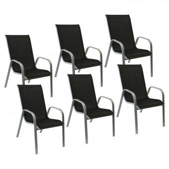 Lot de 6 chaises MARBELLA en textilène noir - aluminium gris