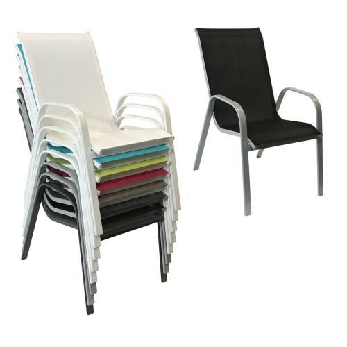 Lot de 6 chaises de jardin en textil ne noir aluminium gris for Lot de 6 chaises grises