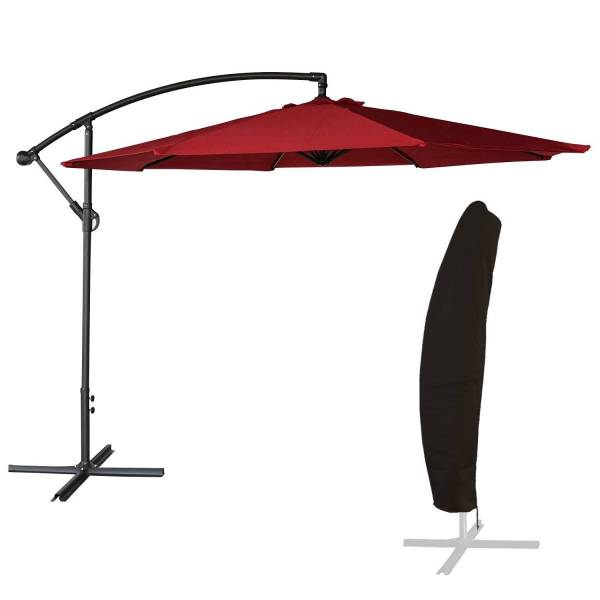 parasol d port inclinable rond 3m rouge housse. Black Bedroom Furniture Sets. Home Design Ideas
