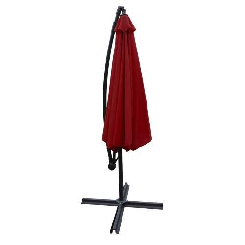 Parasol déporté OAHU rond 3m de diamètre rouge - mât gris + housse