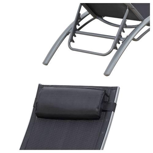 Transat en textilène GALAPAGOS - lot de 2 - textilène gris/structure grise
