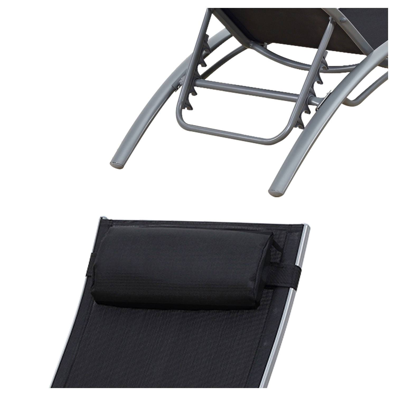 Transat en textilène GALAPAGOS - lot de 2 - textilène noir/structure grise