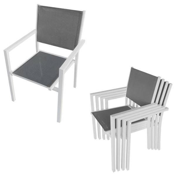 salon de jardin aluminium et textil ne gris 6 places bergamo. Black Bedroom Furniture Sets. Home Design Ideas