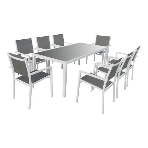 Salon de jardin BARI en textilène gris 8 places - aluminium blanc