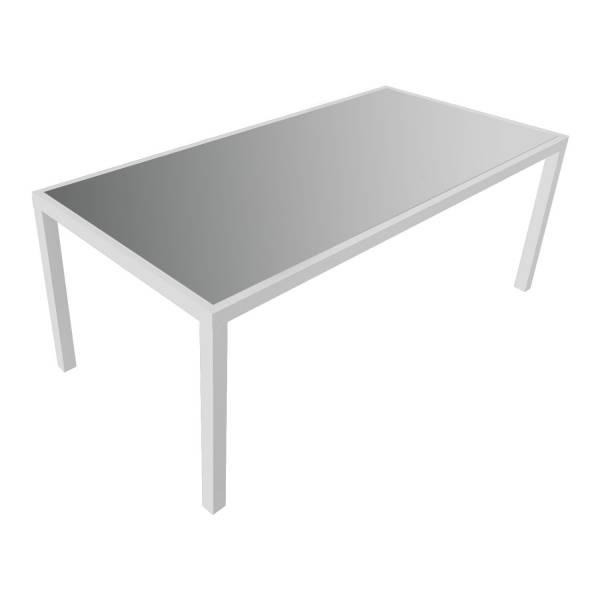Salon de jardin aluminium blanc et textilène gris 8 places Bari