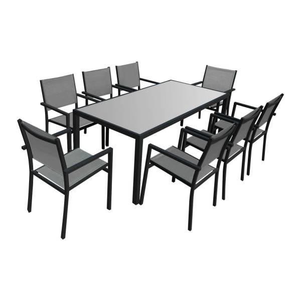salon de jardin textilene gris 8 places alu anthracite bari. Black Bedroom Furniture Sets. Home Design Ideas