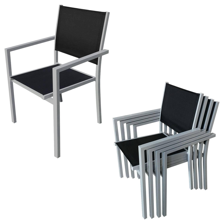 Salon de jardin BARI en textilène noir 8 places - aluminium gris