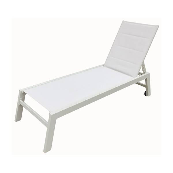 bain de soleil alu et textil ne blanc barbados happy garden. Black Bedroom Furniture Sets. Home Design Ideas