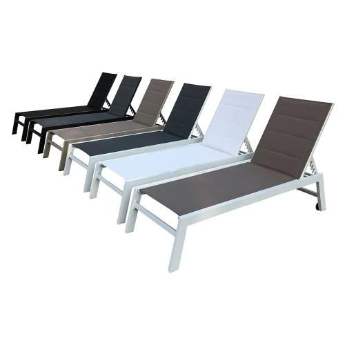 Lot de 2 bains de soleil BARBADOS en textilène gris - aluminium blanc