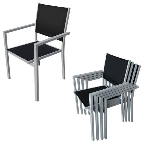 Salon de jardin CAGLIARI en textilène noir 8 places - aluminium gris