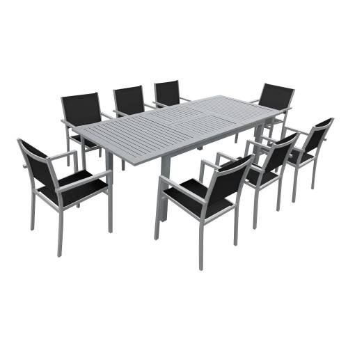 Salon de jardin CAPRI extensible en textilène noir 8 places - aluminium gris