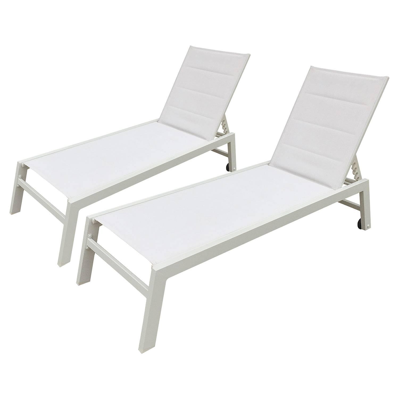 Lot de 2 bains de soleil BARBADOS en textilène blanc - aluminium blanc