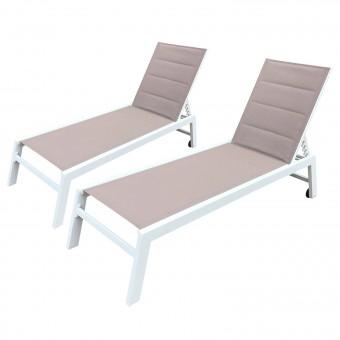 Lot de 2 bains de soleil BARBADOS en textilène taupe - aluminium blanc