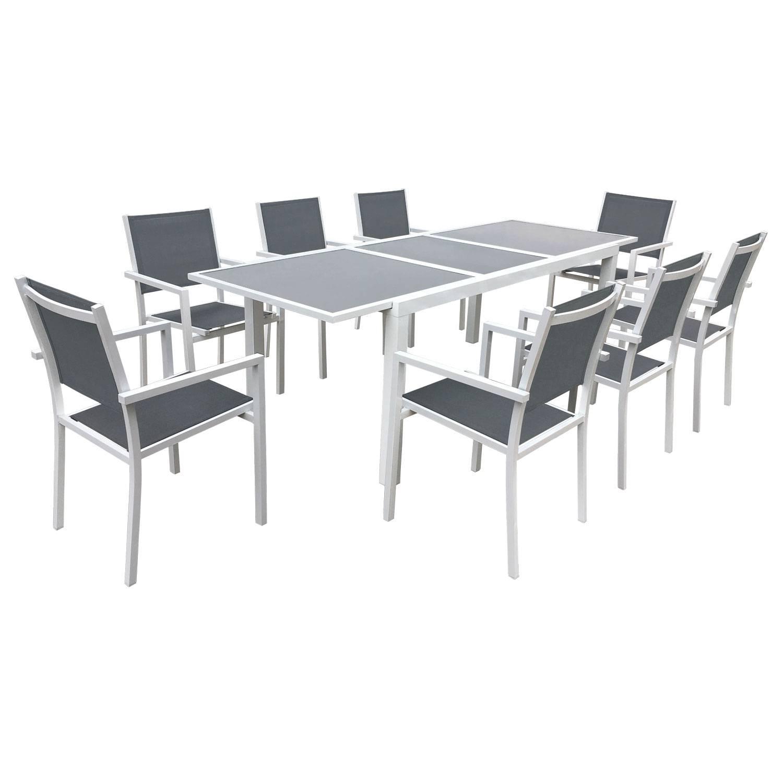 Salon de jardin aluminium textilène extensible gris 8 personnes