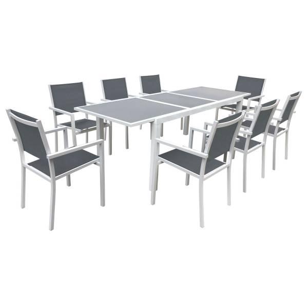 Salon de jardin aluminium textil ne extensible gris 8 personnes - Salon de jardin textilene ...