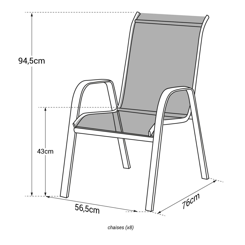 Lot de 8 chaises MARBELLA en textilène bleu - aluminium blanc