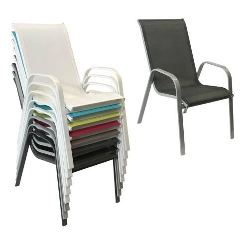 Lot de 4 chaises MARBELLA en textilène gris - aluminium gris