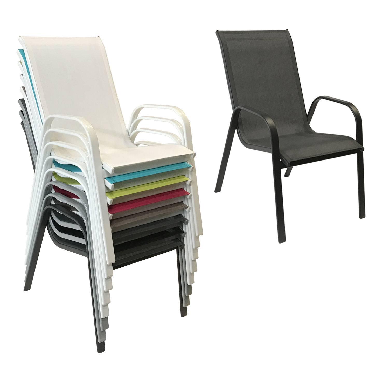 Lot de 4 chaises MARBELLA en textilène gris - aluminium noir