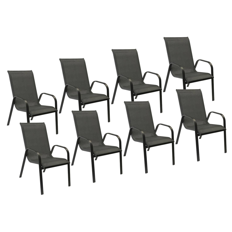 Lot de 8 chaises MARBELLA en textilène gris - aluminium noir
