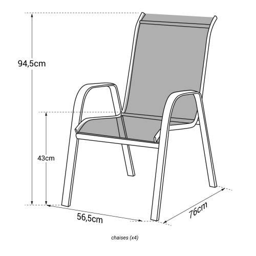 Lot de 4 chaises MARBELLA en textilène noir - aluminium gris