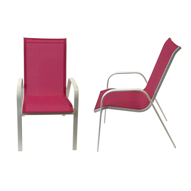 Lot de 4 chaises MARBELLA en textilène rose - aluminium blanc