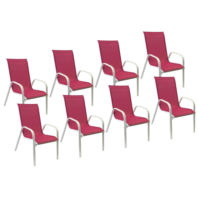 Lot de 8 chaises MARBELLA en textilène rose - aluminium blanc