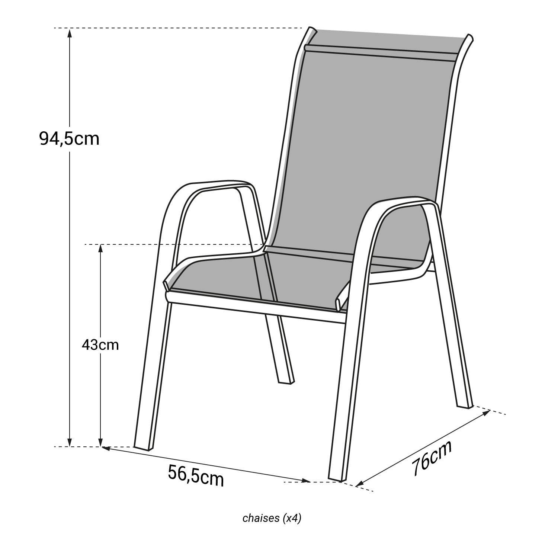Lot de 4 chaises MARBELLA en textilène taupe - aluminium blanc