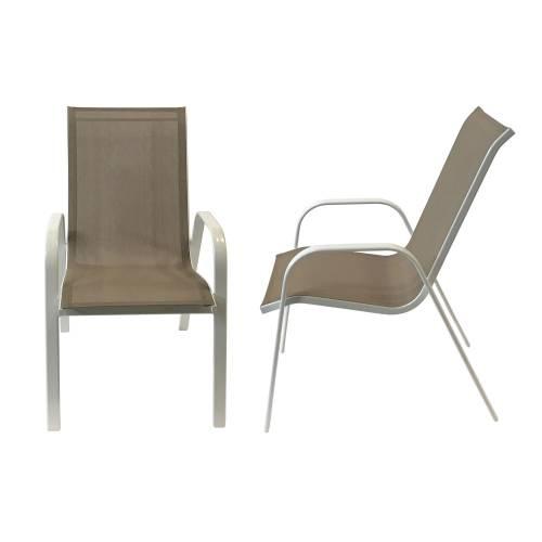 Lot de 6 chaises MARBELLA en textilène taupe - aluminium blanc
