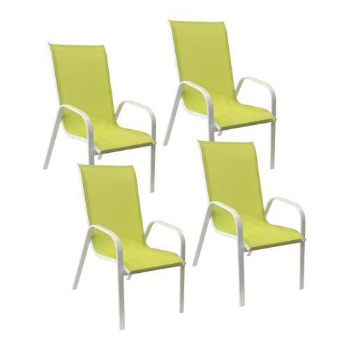 Lot de 4 chaises MARBELLA en textilène vert - aluminium blanc