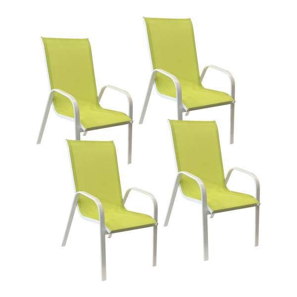 Lot de 4 chaises de jardin en aluminium et textilène vert