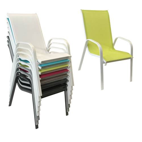 Lot de 6 chaises MARBELLA en textilène vert - aluminium blanc