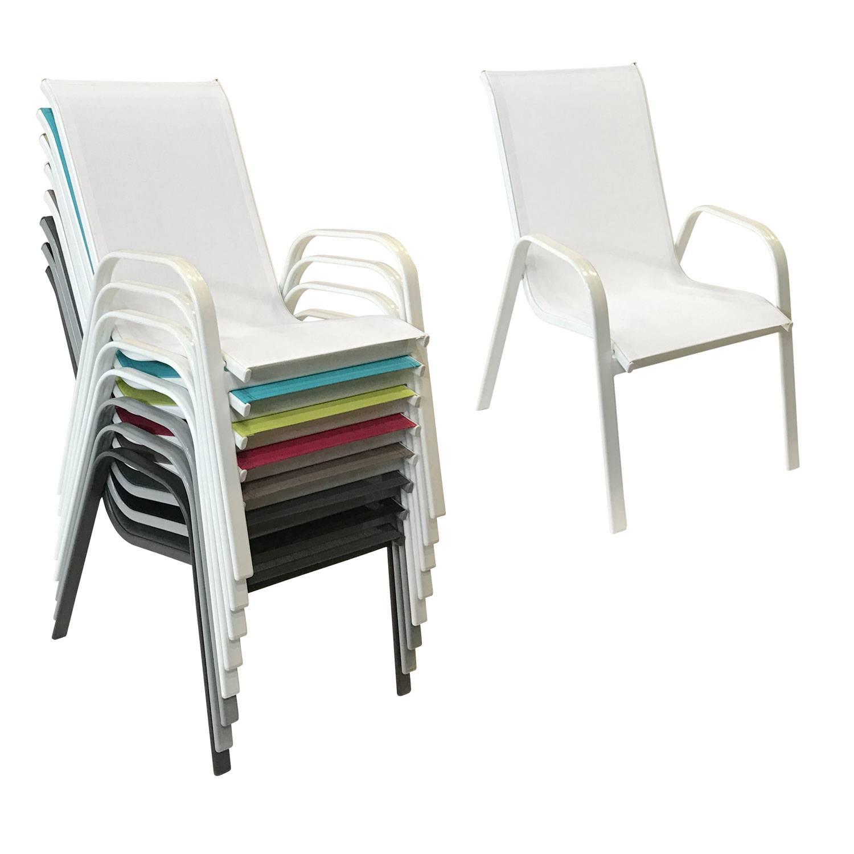 Lot de 4 chaises MARBELLA en textilène blanc - aluminium blanc
