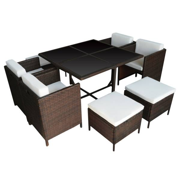 salon de jardin r sine tress e encastrable marron 8 personnes. Black Bedroom Furniture Sets. Home Design Ideas