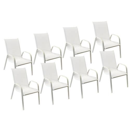 Lot de 8 chaises MARBELLA en textilène blanc - aluminium blanc