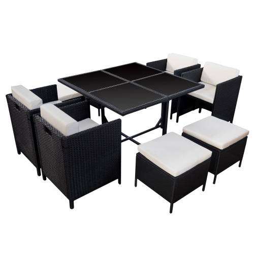 salon de jardin r sine tress e encastrable noir 8 personnes. Black Bedroom Furniture Sets. Home Design Ideas
