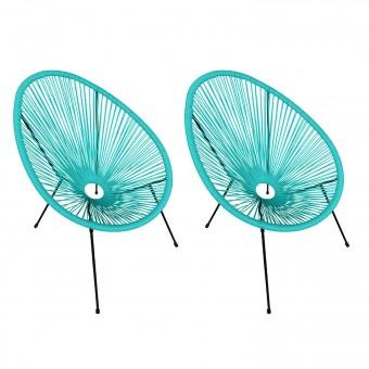 Lot de 2 fauteuils œuf ACAPULCO aqua