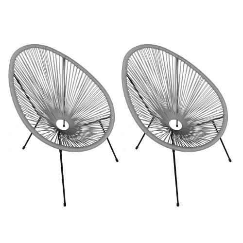 Lot de 2 fauteuils oeuf ACAPULCO gris