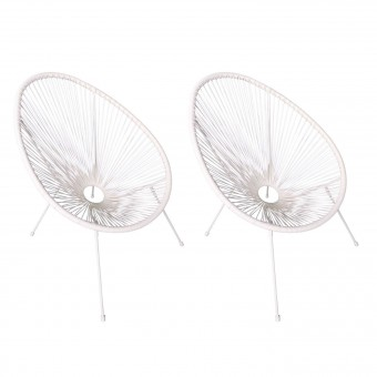 Lot de 2 fauteuils œuf ACAPULCO blanc