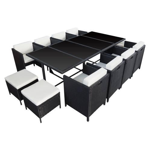 salon de jardin r sine tress e encastrable noir 12 personnes. Black Bedroom Furniture Sets. Home Design Ideas