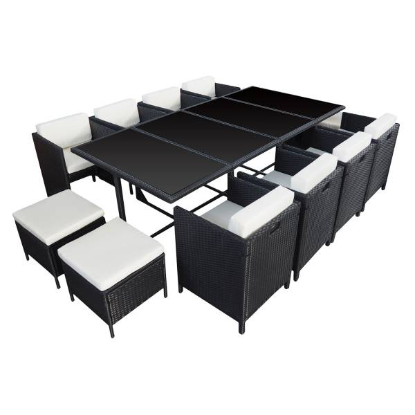 salon de jardin r sine tress e encastrable noir 12 personnes. Black Bedroom Furniture Sets. Home Design Ideas