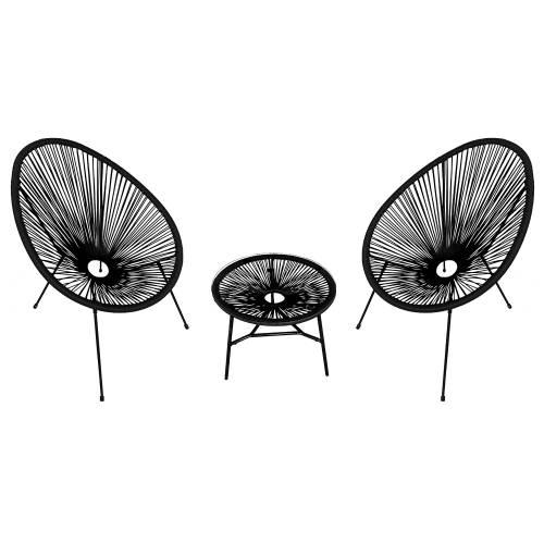 Ensemble de 2 fauteuils oeuf + table ACAPULCO noir
