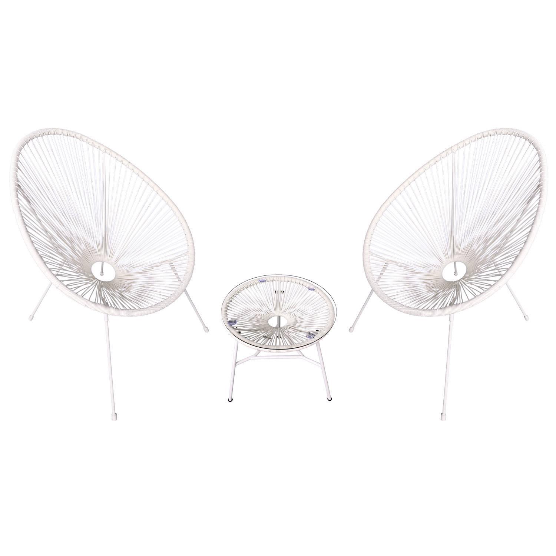 Ensemble de 2 fauteuils oeuf + table ACAPULCO blanc