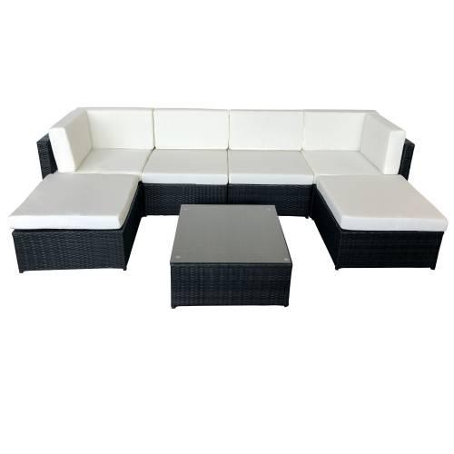 Salon de jardin BONIFACIO en résine tressée noir 6 places - coussin blancs