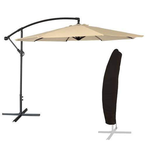 parasol d port inclinable rond 3m beige housse. Black Bedroom Furniture Sets. Home Design Ideas