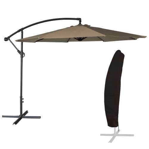 parasol d port inclinable rond 3x3 taupe housse. Black Bedroom Furniture Sets. Home Design Ideas