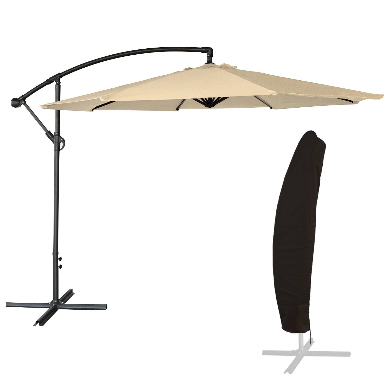 Parasol déporté OAHU rond 3,50m de diamètre beige + housse