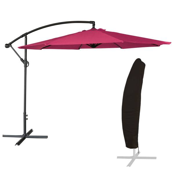 parasol d port inclinable rond fuchsia housse. Black Bedroom Furniture Sets. Home Design Ideas